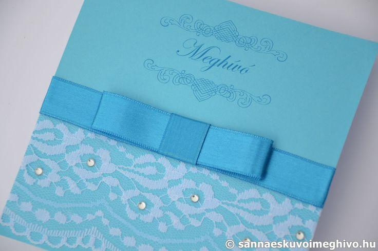 Kék medence 7 esküvői meghívó, meghívó, csipkés esküvői meghívó, kék esküvői meghívó, szalagos esküvői meghívó, sannaeskuvoimeghivo, egyedi esküvői meghívó, wedding card