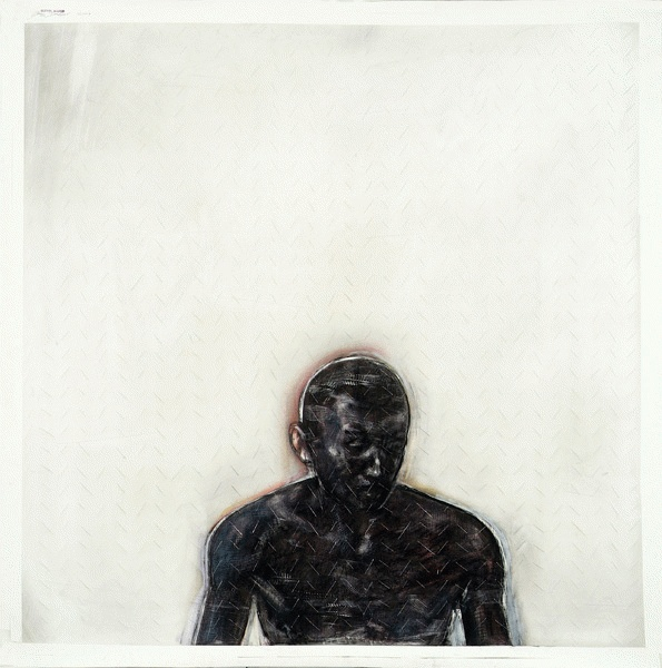 Godwin Bradbeer, Man of 1000 Cuts, 2009, Chinagraph, pastel dust, silver oxide, blade on paper