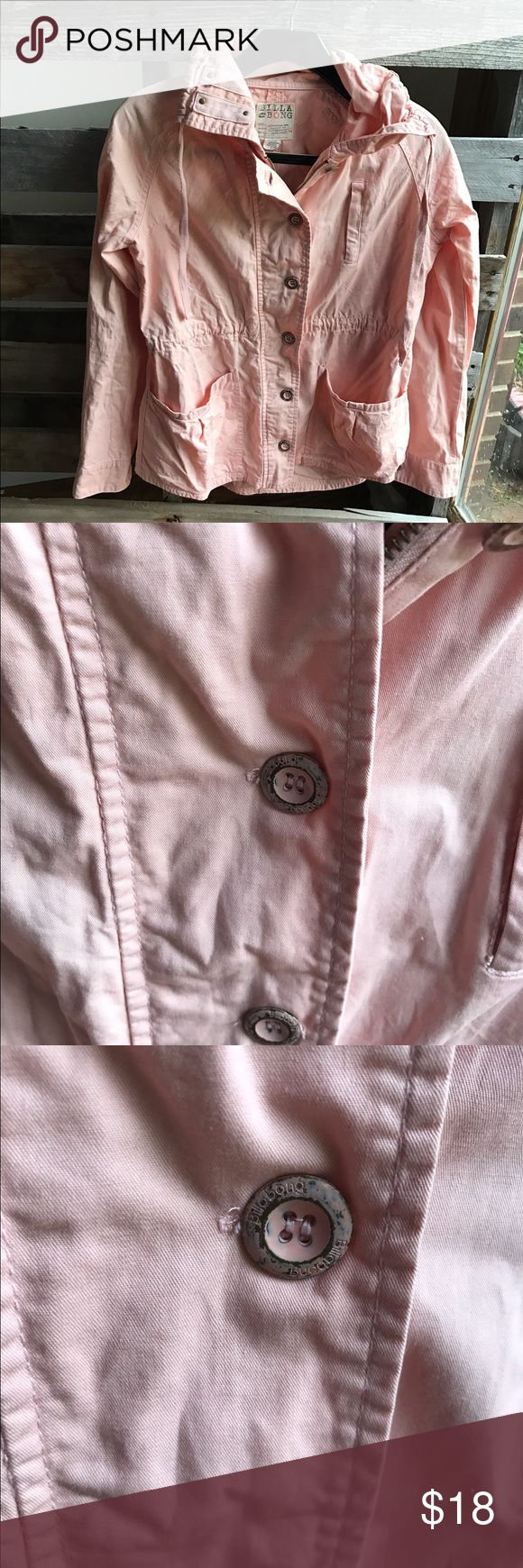 Billabong jacket roll sleeves M GUC Good condition no holes, stains etc.  You can see signs of wear on the buttons. Lots of life left. Smoke and pet free home. Bundle discount 20% Billabong Jackets & Coats