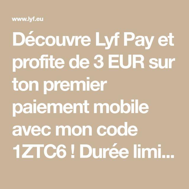 Découvre Lyf Pay et profite de 3 EUR sur ton premier paiement mobile avec mon code 1ZTC6 ! Durée limitée. https://www.lyf.eu/parrainage/1ZTC6