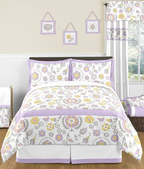 Queen/Full Suzanna White and Lavender Childrens and Teen Bedding Set by Sweet Jojo Designs - 3pc