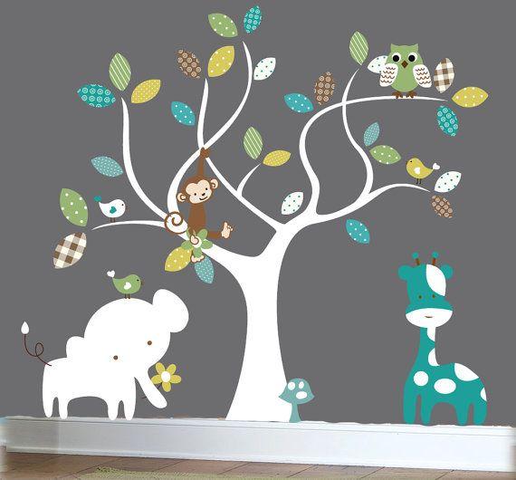 Nursery jungle decal set, tree wall decal, jungle animal wall decals, patterned wall decals