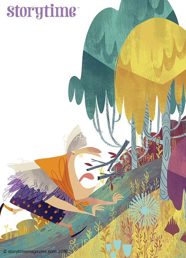 Baba Yaga the witch munching her way through a forest in Storytime Issue 26. Art by Zoe Persico (http://www.zoepersico.com) ~ STORYTIMEMAGAZINE.COM