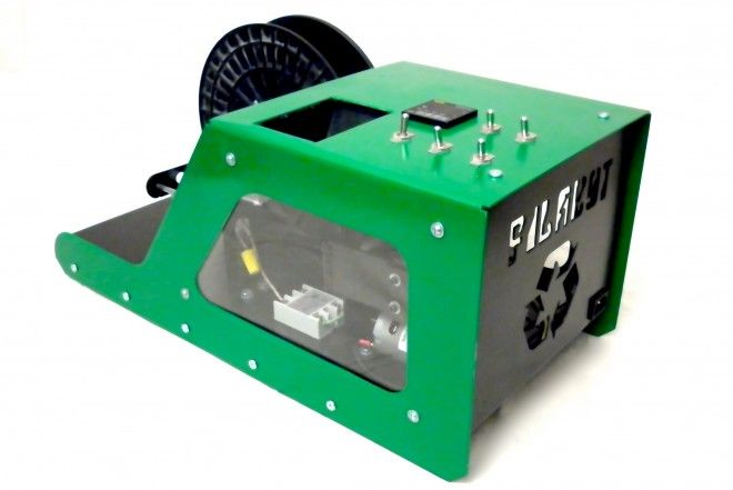 Filabot - recycles plastic into filament for 3D printers. Saves money and recycles.