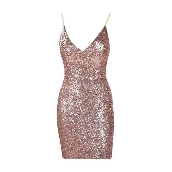 24K Magic Rose Gold Sequin Spaghetti Strap V Neck Bow Back Mini Dress ($98) ❤ liked on Polyvore featuring dresses, rose gold sequin dress, v-neck dresses, sequin dresses, v neck sequin dress and short dresses