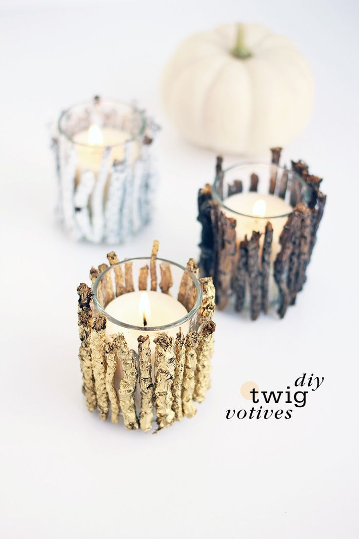 DIY Twig Votive Candle Holders. What a lovely and inexpensive rustic tablescape idea. Would be beautiful for a Thanksgiving or Christmas centerpiece or mantle, or even as a lovely gift idea. Step-by-step tutorial is included.