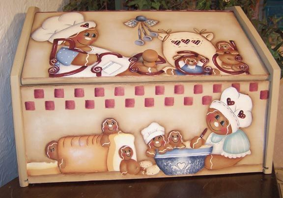 free images to paint on bread boxes   Gingerbread Bread Box Painting Pattern   eBay