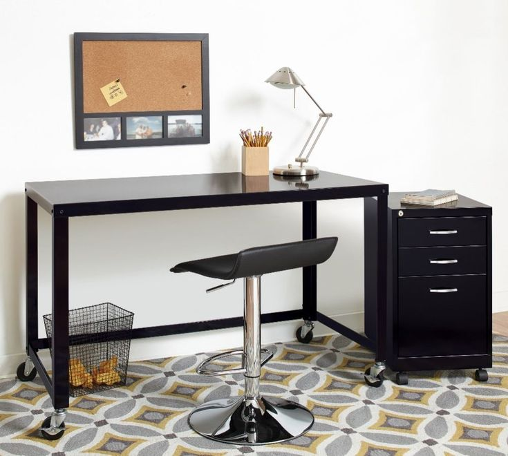 48-Inch Modern Wide Black Steel Mobile Computer Writing Desk Rolling Cart New #MobileDesk