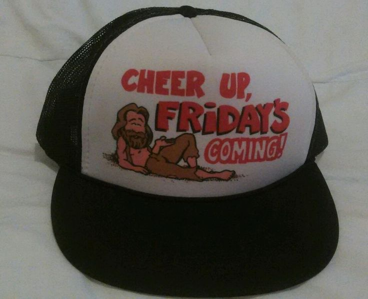 Novelty CHEER UP, FRIDAYS COMING! Black White Red Hat Trucker Snapback