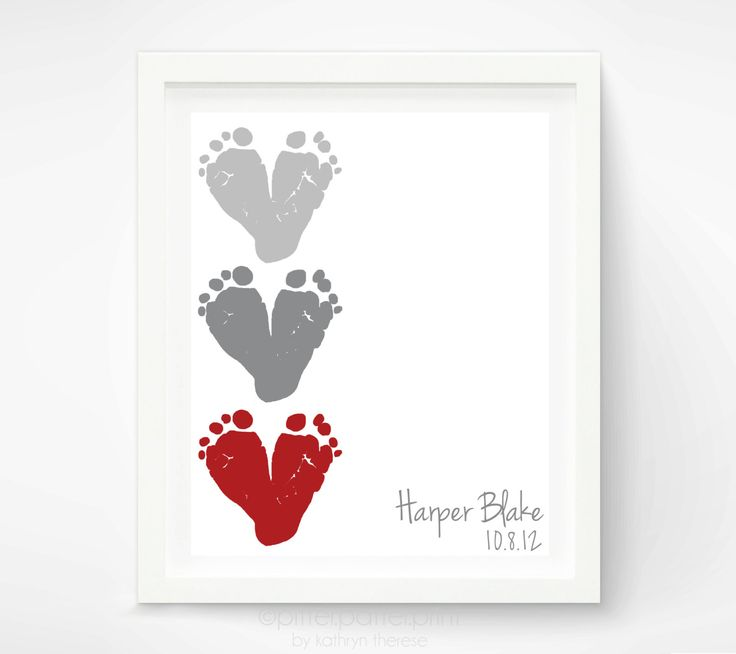 Baby+Footprint+Art++Personalized+Baby+Name+by+PitterPatterPrint,+$30.00