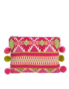 ASOS Aztec Clutch Bag with Pom Poms  http://us.asos.com/