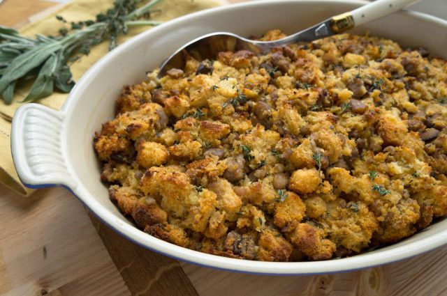 With cornbread, country-style bread, sausage, chestnuts, and a touch of apple cider, this Sausage and Chestnut Stuffing is one of my favorite holiday sides.
