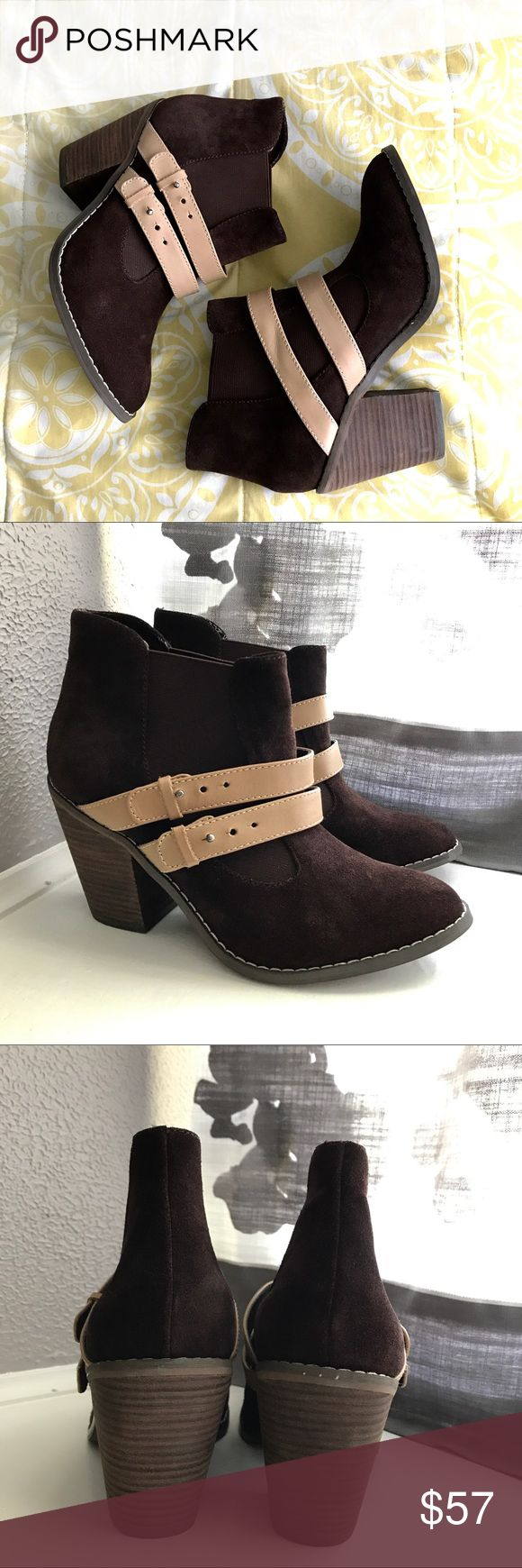 KELSI DAGGER JALYNN BOOTIE Jalynn bootie in Cocoa Brown/Natural. Cow Suede material. Only worn once. Kelsi Dagger Shoes Ankle Boots & Booties