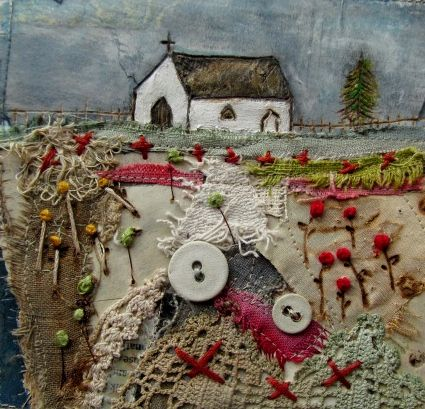 'The little chapel in the meadow'  by Louise O'Hara of DrawntoStitch www.drawntostitch.com