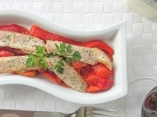 Tuna belly fillets with roasted pepper - Ventresca is the underside of the tuna fish, which is the most desirable part, giving a succulent and moist fillet. Get this easy Spanish food recipe with tuna belly fillets and homemade roasted pepper!