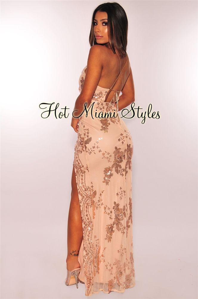 d1f60e4d1d7 Rose Gold Floral Sequins CrissCross Slit Maxi Dress in 2019