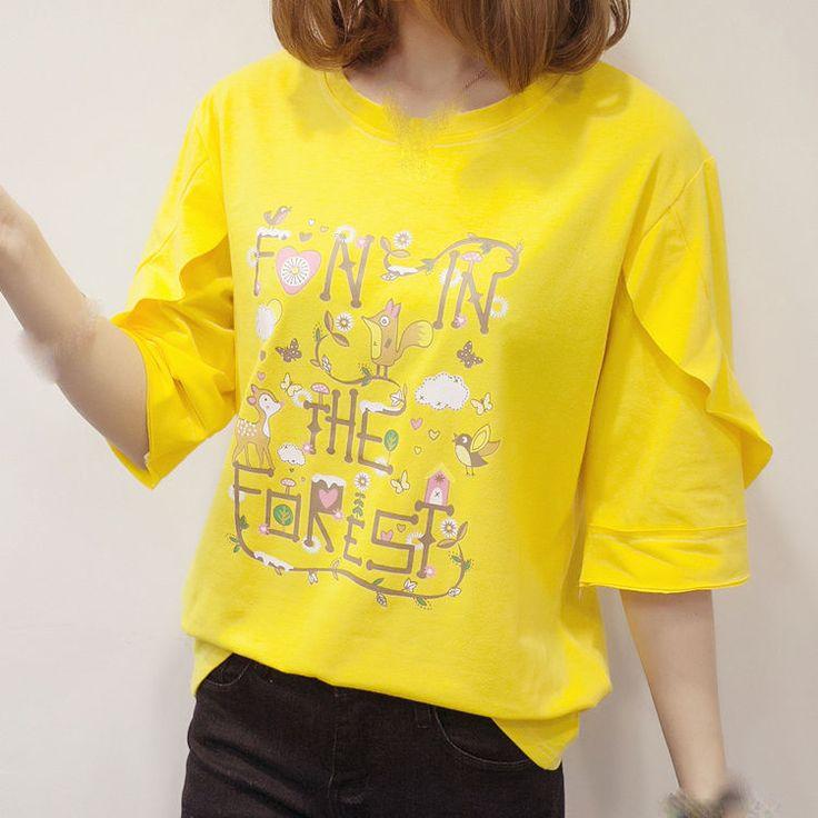 Fashion Women Cute Half Sleeve Shirt Casual Cotton Shitsuke Top T Shirt