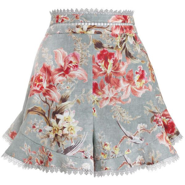 ZIMMERMANN Mercer Flutter Frill Short (870 BRL) ❤ liked on Polyvore featuring shorts, skirts, bottoms, pants, short, high waisted short shorts, blue shorts, scalloped shorts, short shorts and ruffle shorts