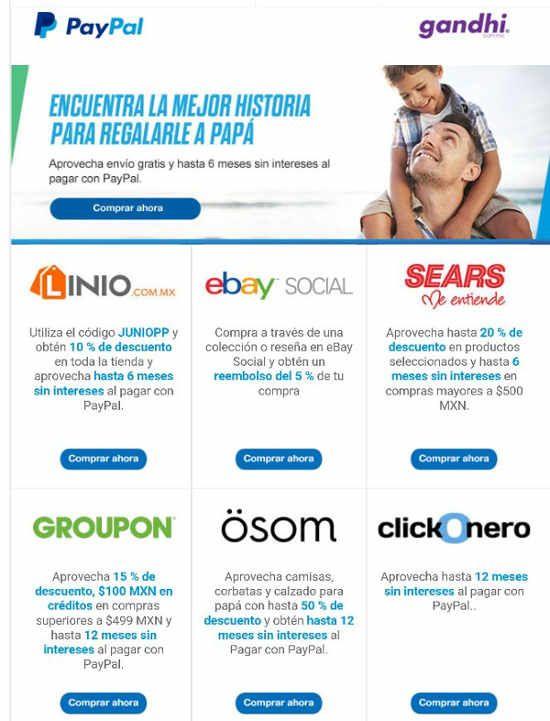 Paypal ofertas día del padre en Best Buy, Groupon, Uber, Sears, Osom