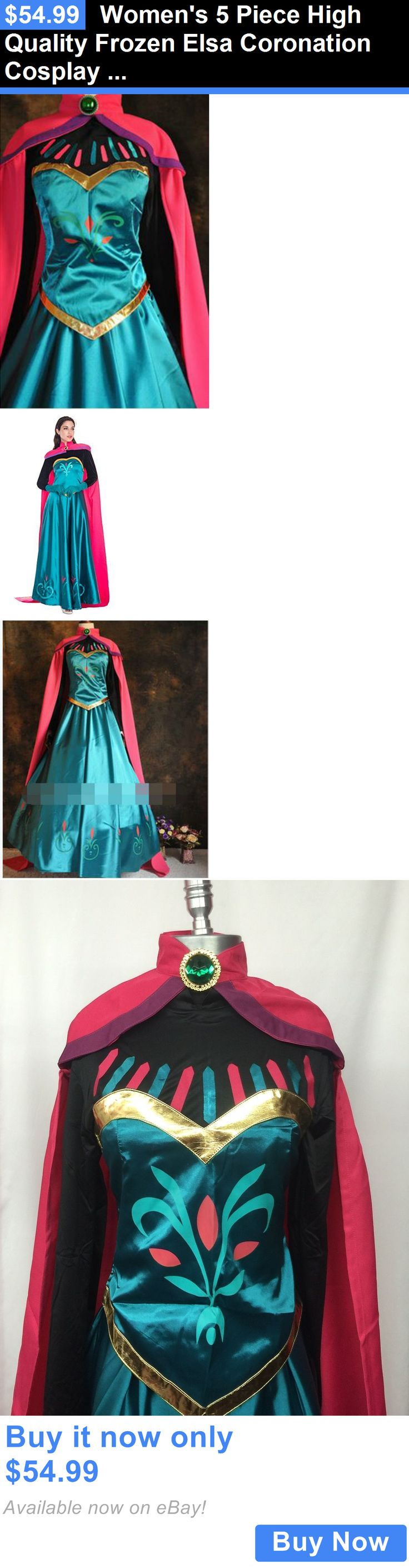 Halloween Costumes Women: Womens 5 Piece High Quality Frozen Elsa Coronation Cosplay Adult Costume BUY IT NOW ONLY: $54.99