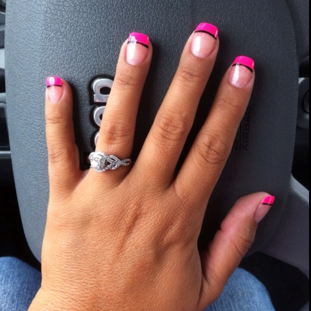 15 best nails images on pinterest blue tips pink nails and my nails hot pink tipblack line prinsesfo Choice Image