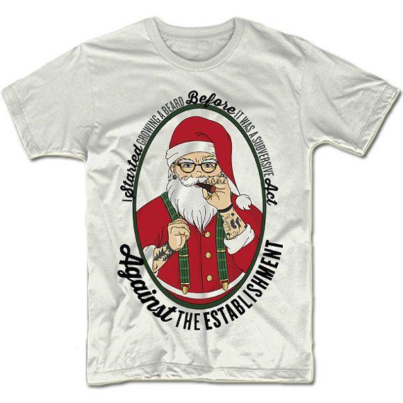 Funny Christmas T-Shirt. Cool Hip Santa. Adult UNISEX Fit Tee. Fuuny Chrismast Shirt. Christmas Gift Idea.