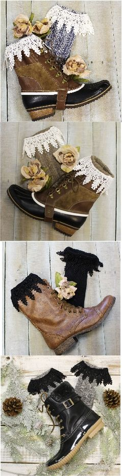 short boot socks with lace - fall socks - ankle socks