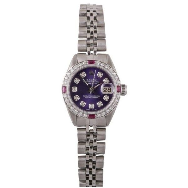 Pre-owned Rolex Datejust Stainless Steel Purple Diamond Dial Pink... ($4,100) ❤ liked on Polyvore featuring jewelry, watches, diamond wrist watch, diamond dial watches, pre owned watches, pink dial watches and purple jewelry