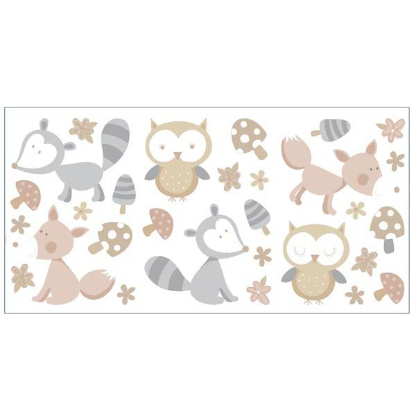 Forest Friends Neutral Wall Stickers - Nursery Wall Decals