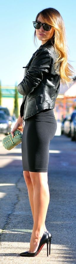 Street Outfit.  Leather Jacket With Black Skirt And Black Heels.