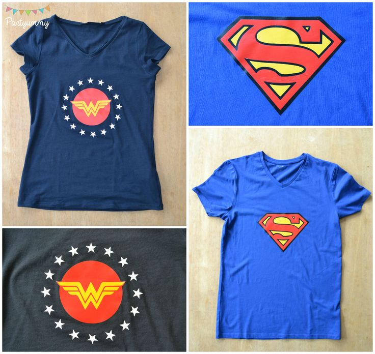 Tee shirt superman et wonderwoman home made