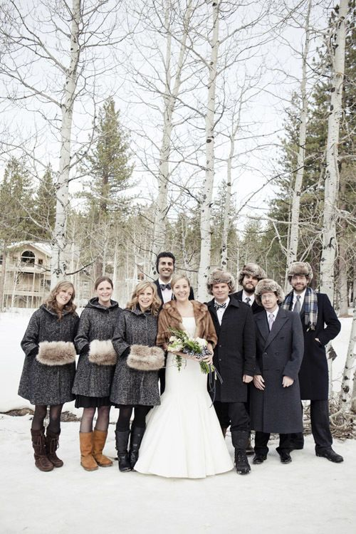 Faux Fur Inspiration For Brides And Bridesmaids Winter Wedding