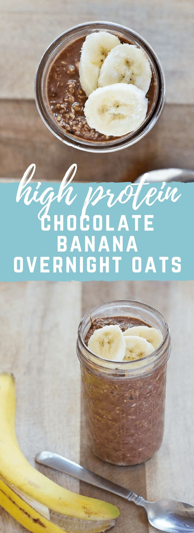 Rise and shine, it's breakfast time! Jumpstart your day with this high protein Chocolate Banana Overnight Oats recipe... all dessert-y and no cooking required. Grab and go convenience. Gluten-free. Great source of protein and fiber.