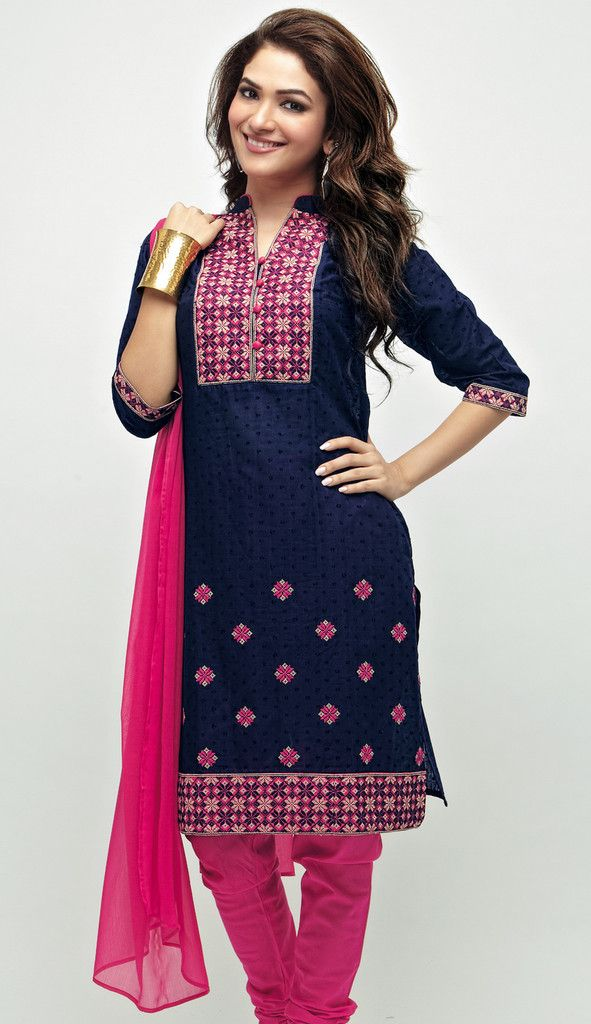 An awesome fusion of blue and pink. A piece worth possessing! U can know more here- http://shopnaari.com/products/dark-blue-dot-jacquard-cotton-unstitched-kurta-set