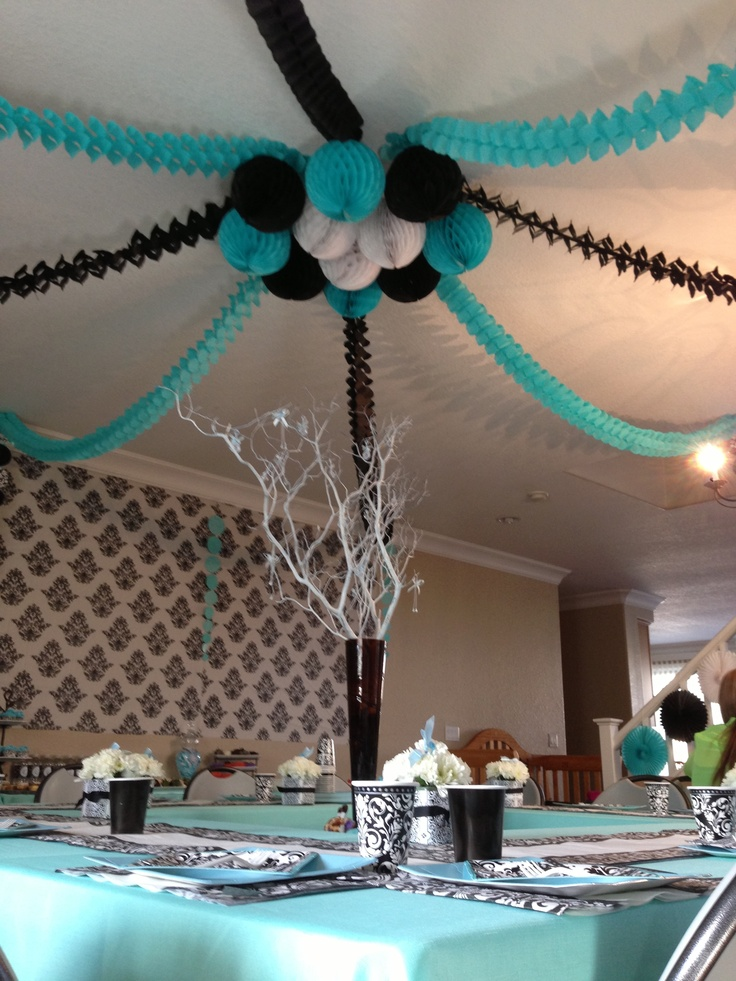 Ceiling decoration for my damask baby shower that my for Ceiling decoration ideas