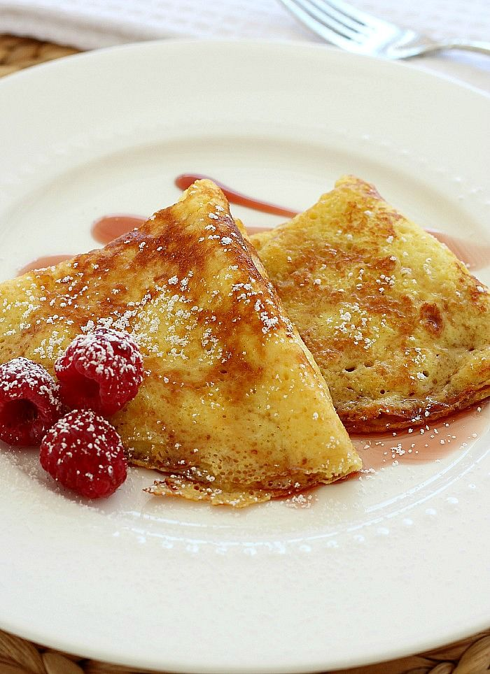 Authentic German Pancakes are light and egg-y with delicate crispy edges. The recipe came from a German family friend many years ago.