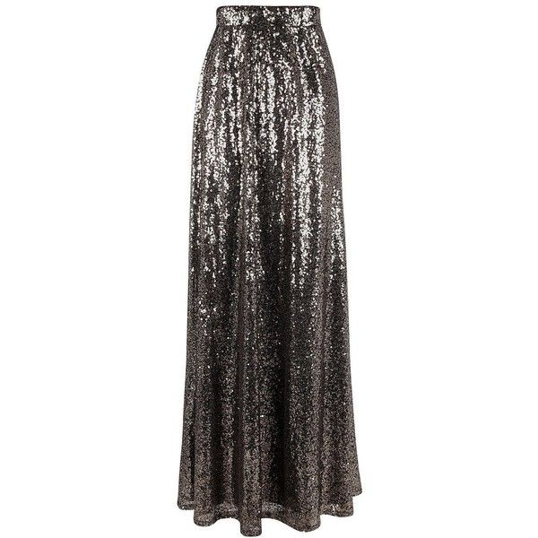 Boohoo Boutique Ruby Floor Sweeping Sequin Maxi Skirt | Boohoo (£42) ❤ liked on Polyvore featuring skirts, long sequin skirt, floor length sequin skirt, long skirts, sequin maxi skirt and maxi skirt