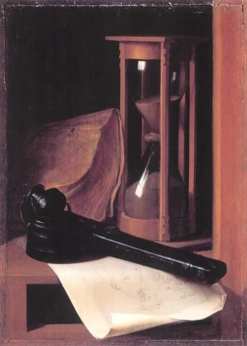Still Life with Hourglass, Pencase and Print - Gerrit Dou