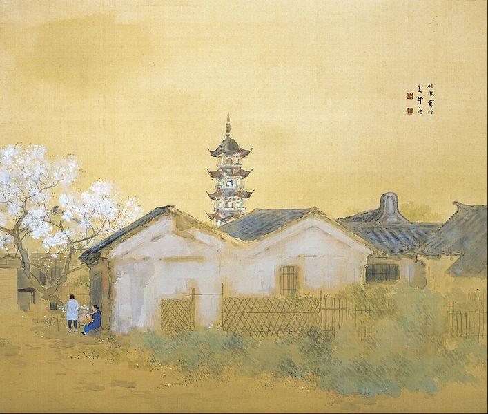 """Calm Spring in Jiangman"", Takeuchi Seihō (1864 -1942) - 1921. - Color on silk.ー 場所: Adachi Museum"