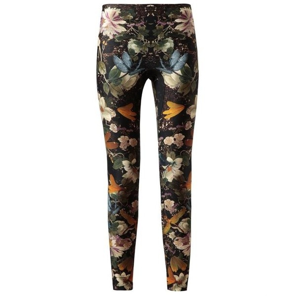 ALEXANDER MCQUEEN Floral Printed Stretch Leggings ($640) ❤ liked on Polyvore
