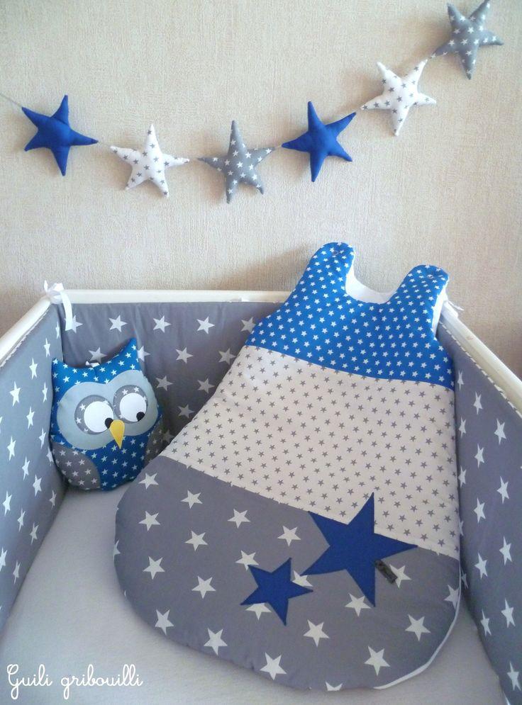 Tour de lit et gigoteuse étoile PATCHWORK gris/bleu roy(modèle déposé) : Linge de lit enfants par guiligribouilli