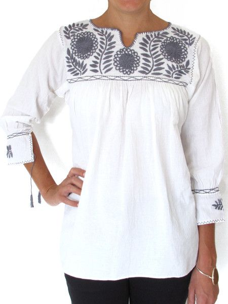 Margarita Blouse Gray | Chiapas Bazaar | Handmade Blouses, Accessories & Home Decor by Mexican Folk Artisans
