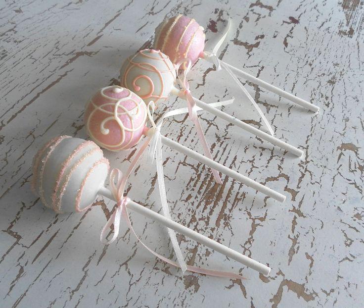 Cake Pops - White and Light Pink Cake Pops for Baby Shower via Etsy.