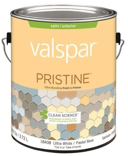 Valspar 18408 Pristine Exterior Paint/Primer, Latex, Pastel Base, Satin, Gallon