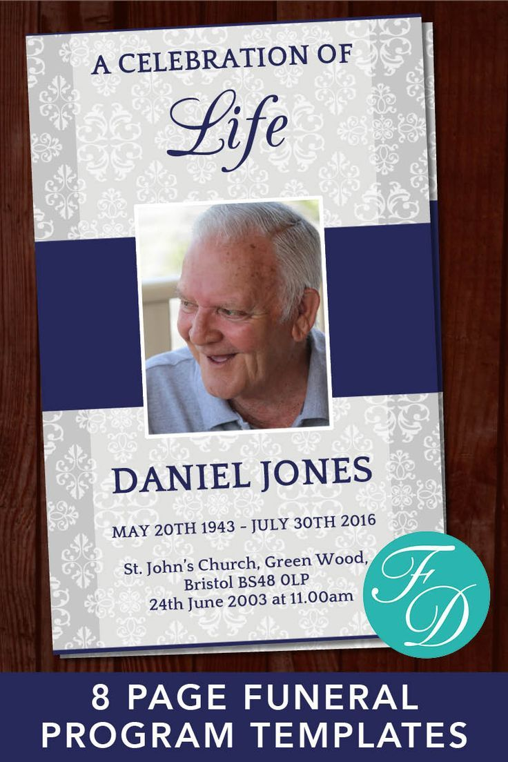 8 Page Classic Funeral Program Template Celebration Of Life