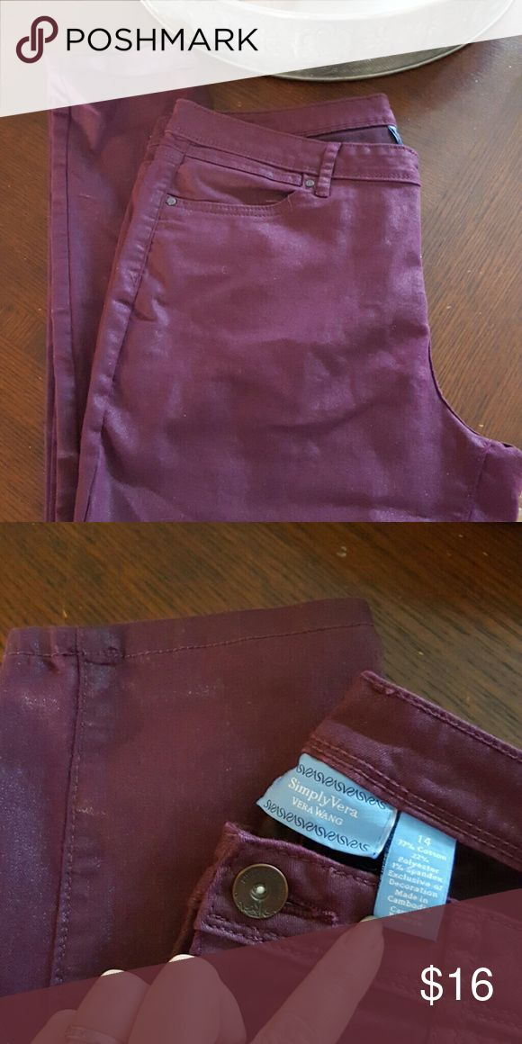 Somply Vera by Vera Wang purple skinny jeans Stretchy plum purple skinny jeans in great shape! Simply Vera Vera Wang Jeans Skinny