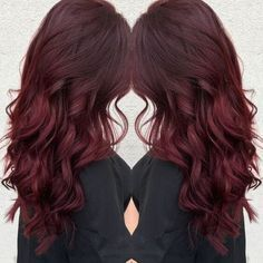 Wavy dark red hair with brown lowlights
