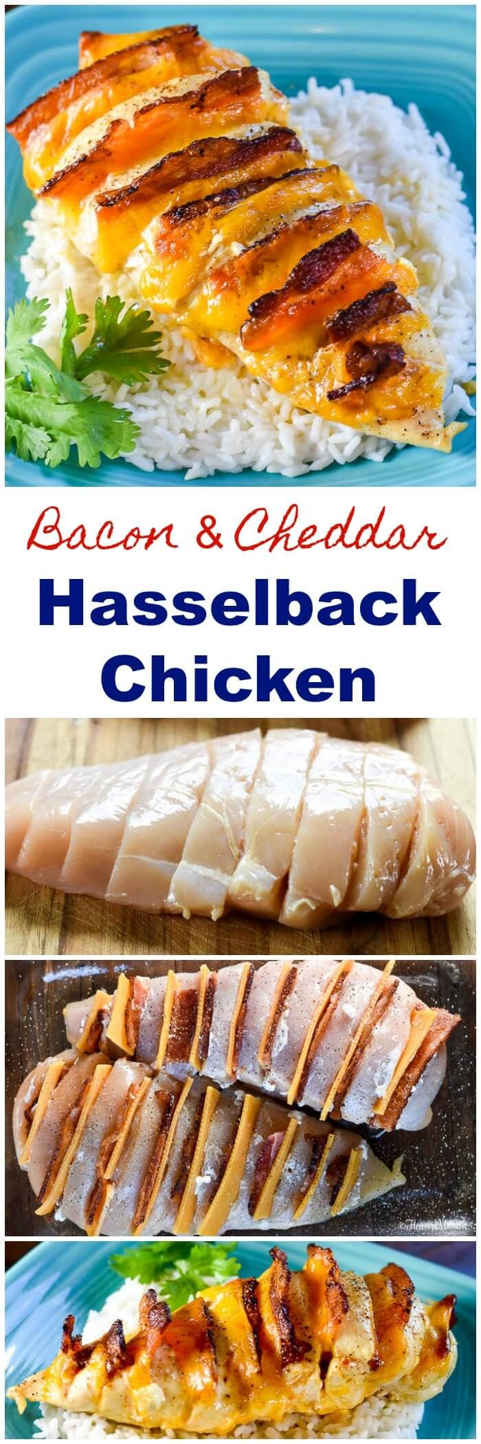 Hasselback Chicken Stuffed with Bacon, Ranch and Cheddar ~ https://FlavorMosaic.com