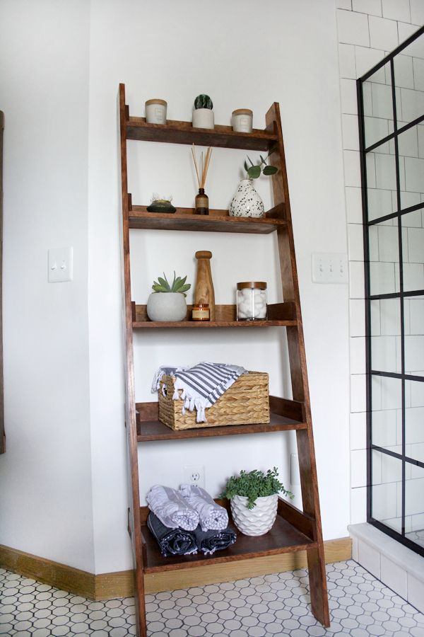 How To Build A Diy Leaning Ladder Shelf Step By Step Guide