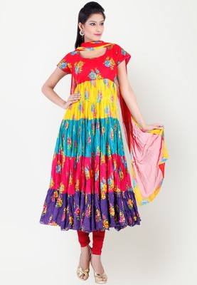 Chhabra 555 offers a multicoloured suit set for women. Made of cotton, this printed suit set includes a flared kurta, churidar and a dupatta. The kurta has knee length, cap sleeves and a round neck. The colourful panels on the kurta are attached alternately to create an aura for the wearer. Made of cotton fabric, this suit set is an ideal pick for the summer season.